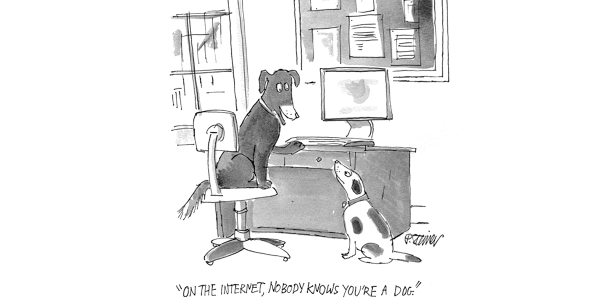 """© Peter Steiner, """"On the Internet, nobody knows you're a dog"""", o.D."""