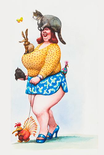 Sommerzeit ist die Zeit der Misswahlen. Hier: Miss Tierliebe. © Manfred Deix, Landessammlungen Niederösterreich