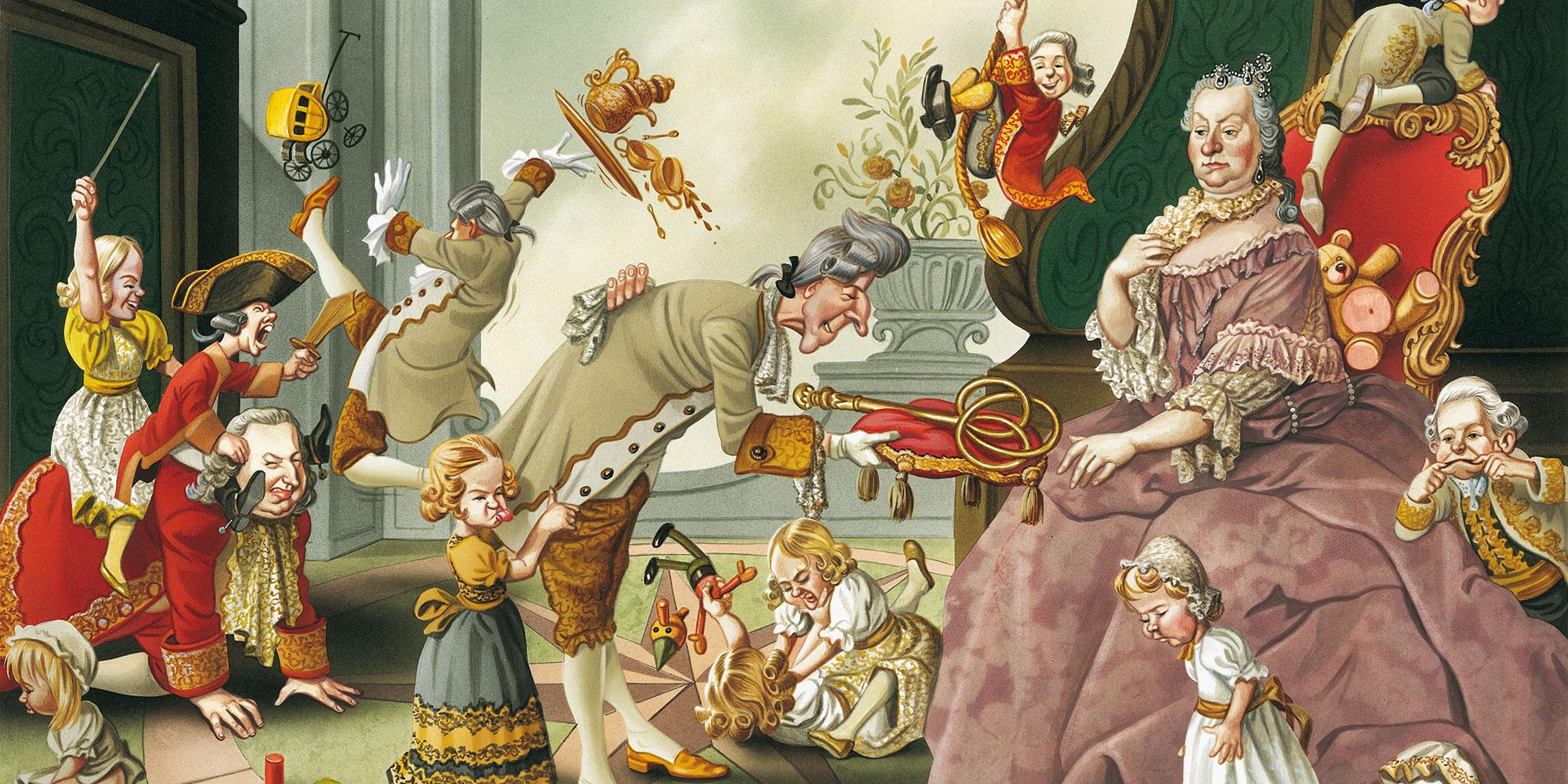 © Bruno Haberzettl, Das Kaiserpaar Maria Theresia und Franz I. im Kreise ihrer Kinder. Die Einführung der Schulpflicht war nur eine Frage der Zeit © Bruno Haberzettl